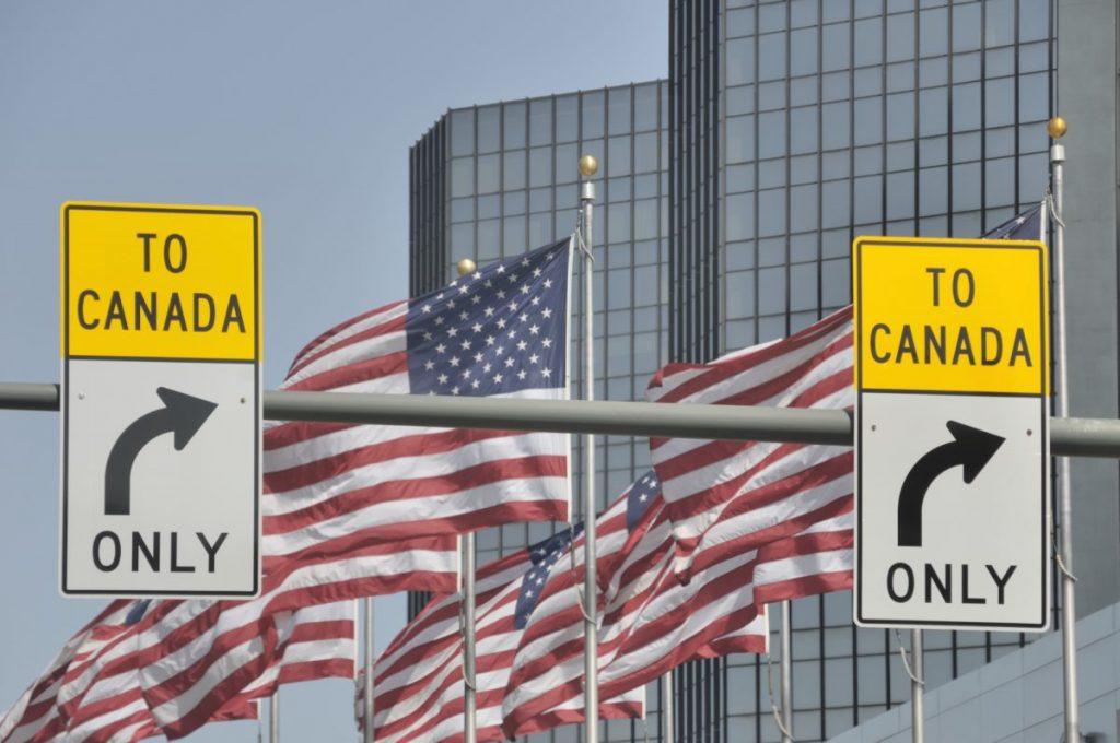 Signs on U.S./Canada border