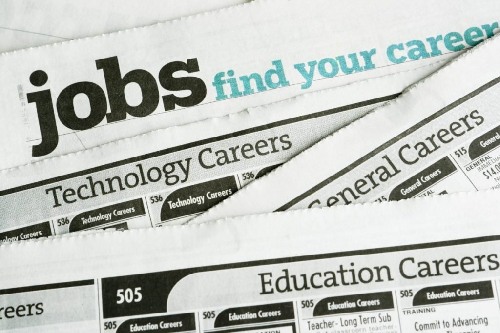 Newspaper with job search