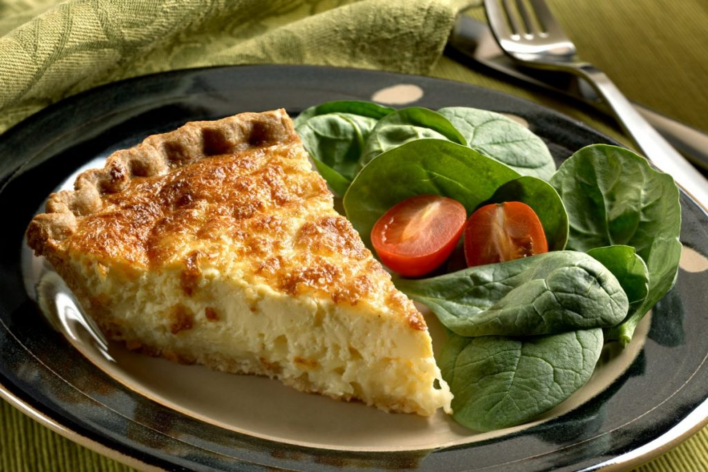 cheese quiche spinach salad