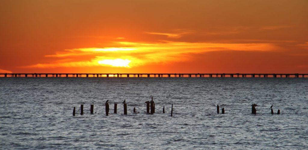 Lake Ponchartrain Causeway at sunset