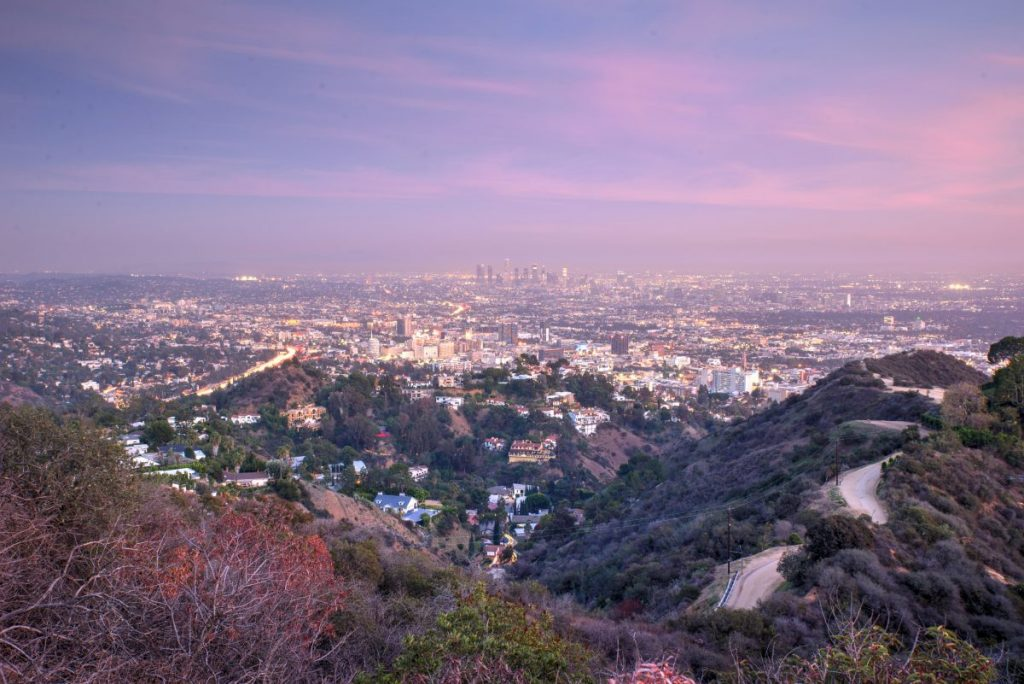 los angeles view runyon canyon