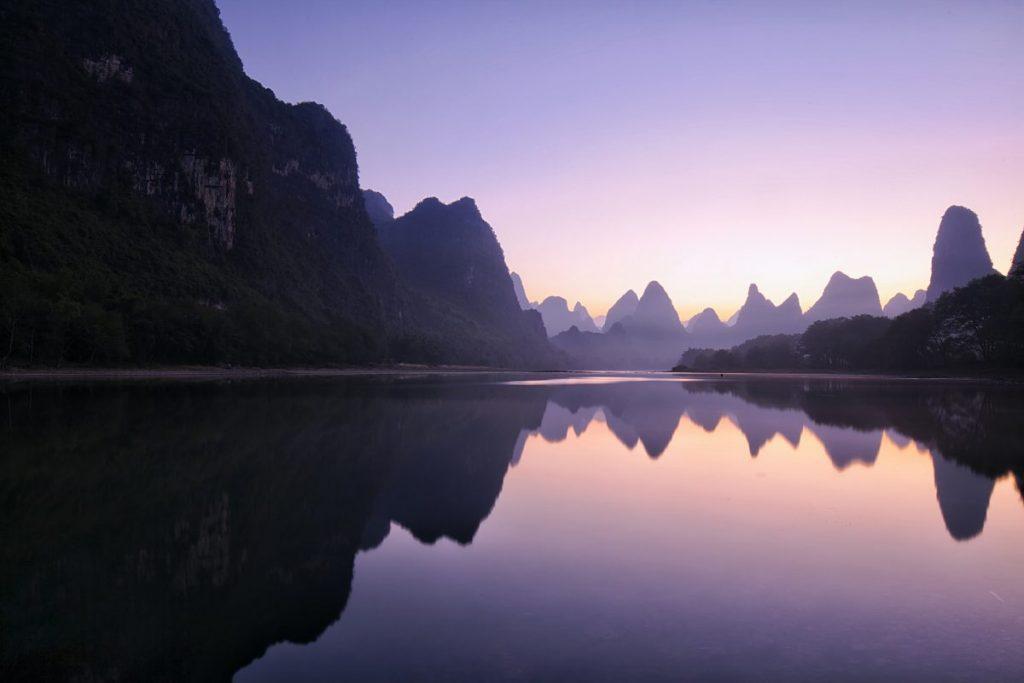 mountains at dawn Guilin China