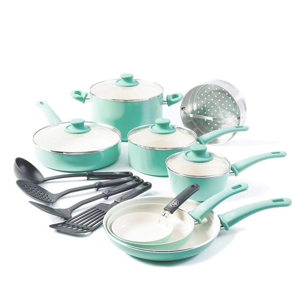 GreenLife Soft Grip 16 pc Ceramic Non-Stick Cookware Set