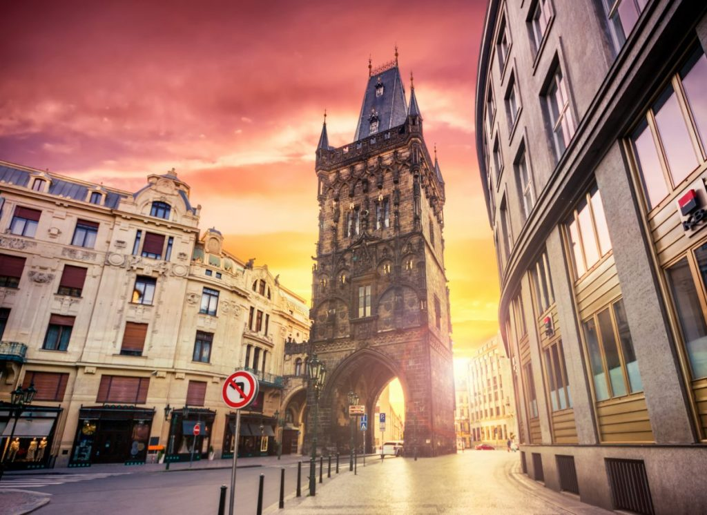 powder tower prague sunrise