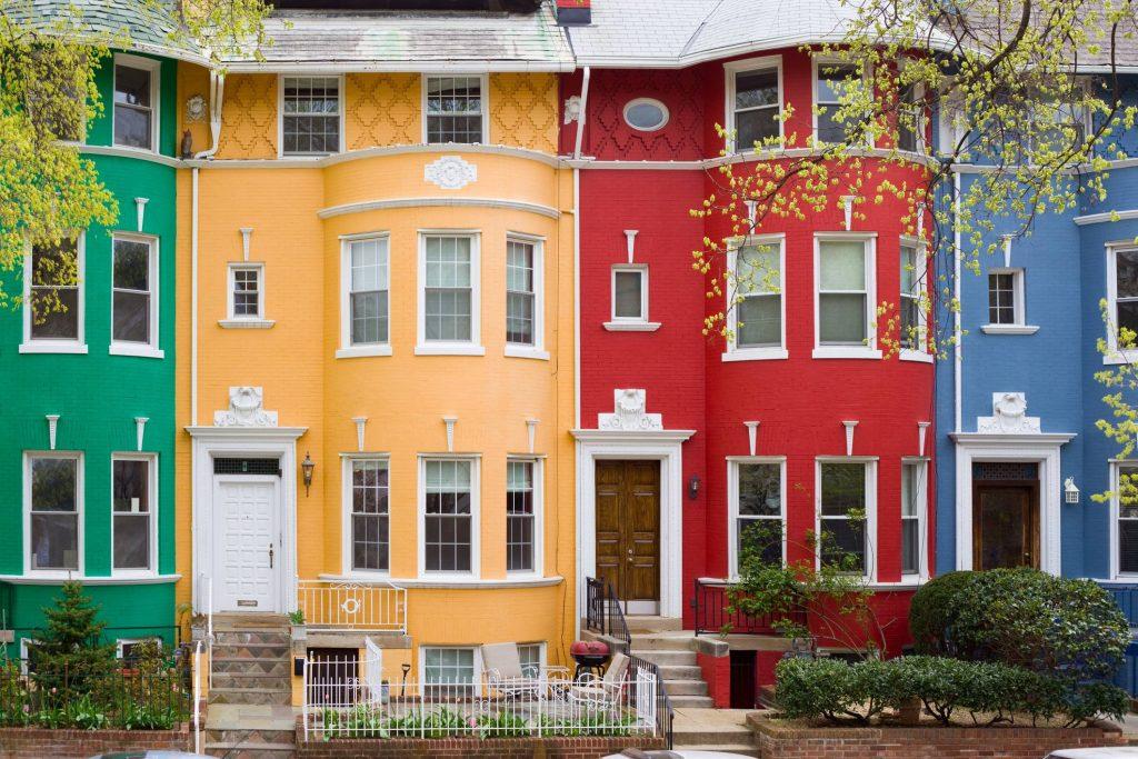 Colorful row houses in Washington DC, USA