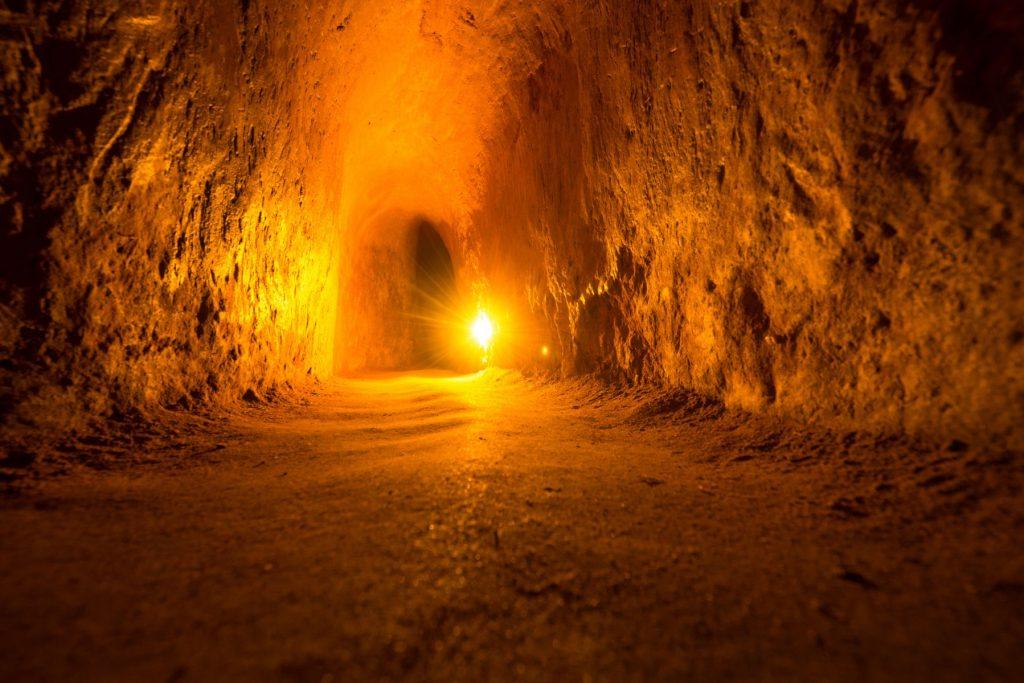 Viet Cong guerrilla tunnel in Vietnam