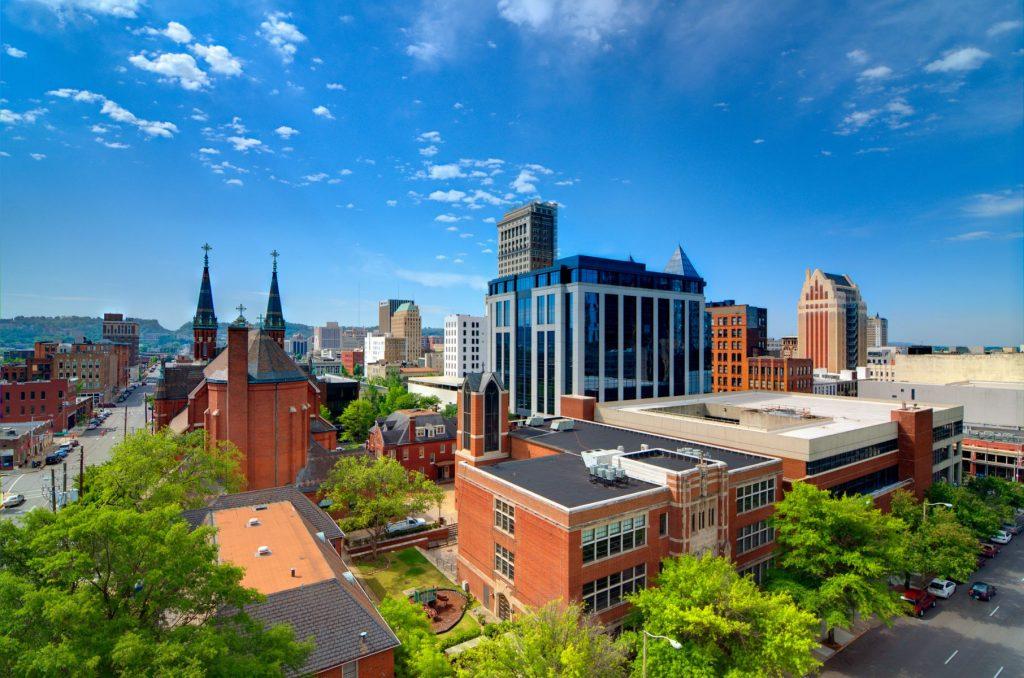 Urban scene of downtown Birmingham, Alabama, USA.