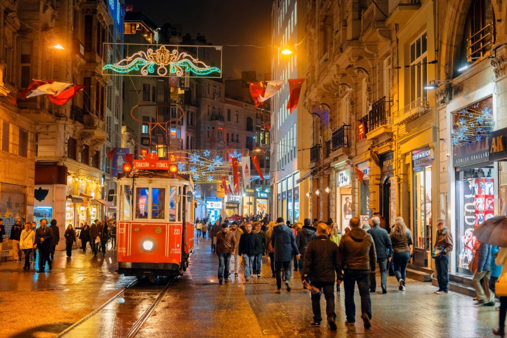 Christmas Lights, National Flags and Tramway in Istanbul, Turkey