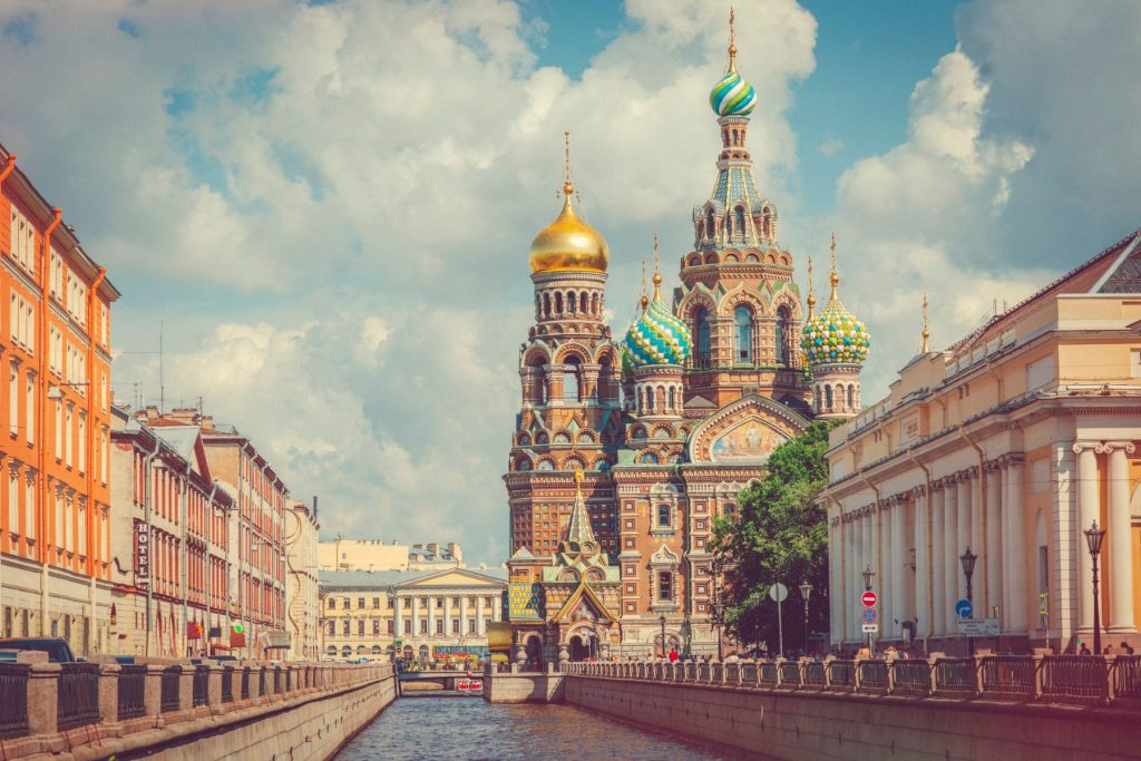 Church of the Savior on Spilled Blood in St. Petersburg and Griboedov canal, Russia