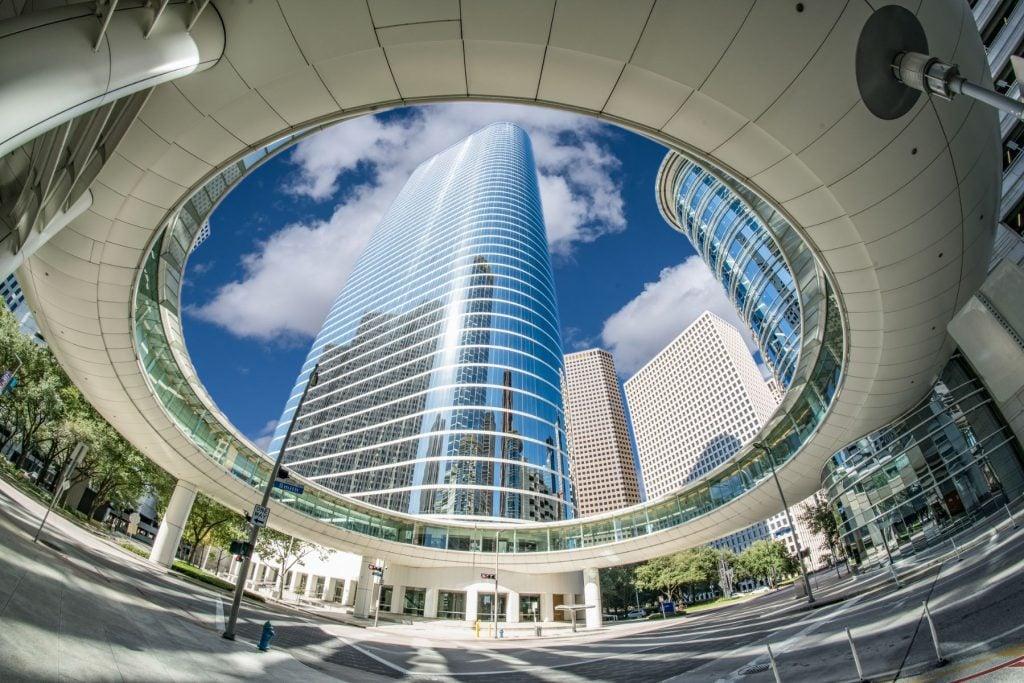 Downtown modern sky walk in Houston, Texas
