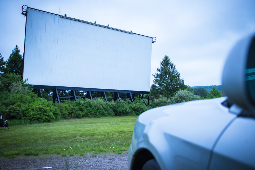 Blank drive-in movie screen;