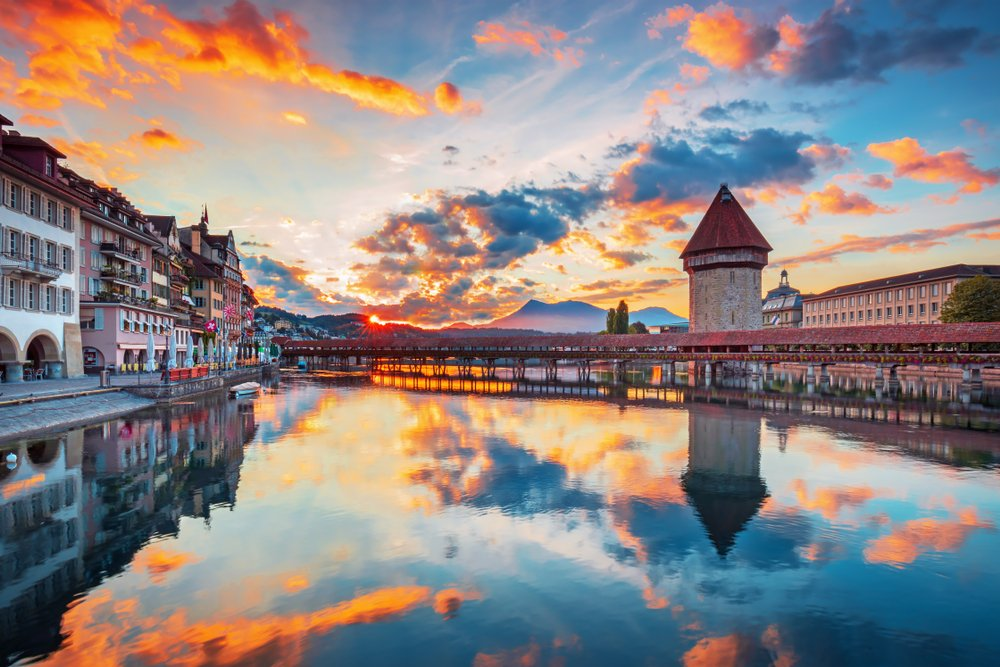 Scenic city center view of Lucerne with famous Chapel Bridge and lake Lucerne