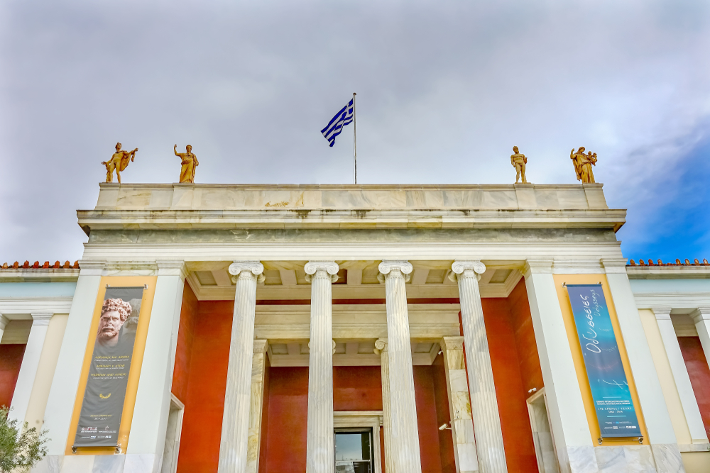 National Archaeological Museum Statues Greek Flag Athens Greece