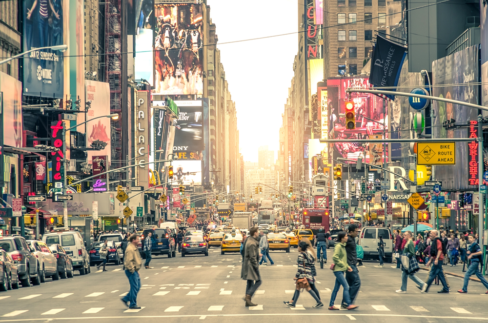 Times Square, featured with Broadway Theaters and animated LED signs, is a symbol of New York City