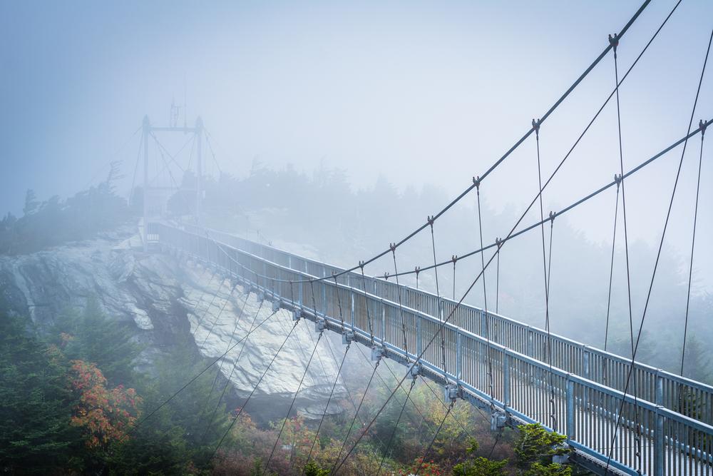The Mile High Swinging Bridge in fog, at Grandfather Mountain, North Carolina