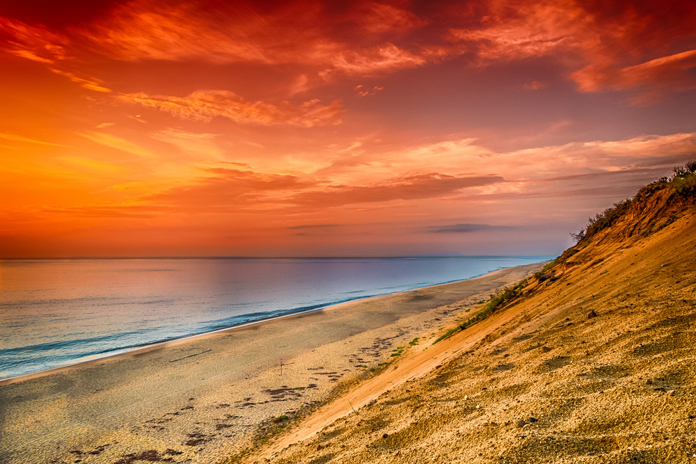 An early morning sunrise over the ocean in Cape Cod.