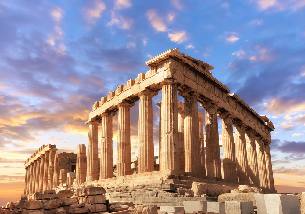 Parthenon temple on a sunset. Acropolis in Athens, Greece,