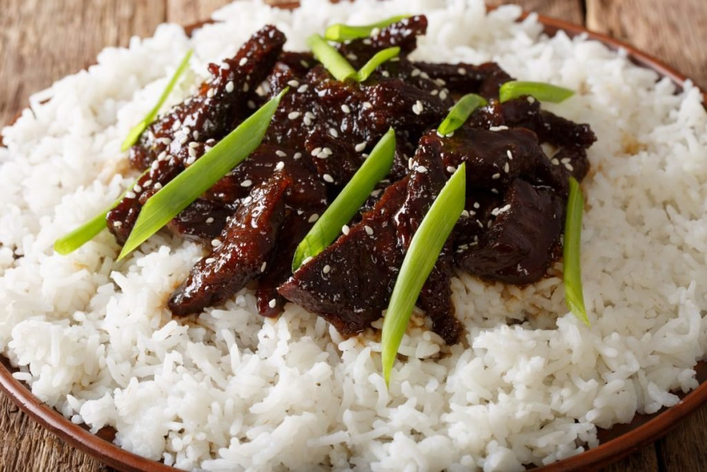 mongolian beef garnish scallion