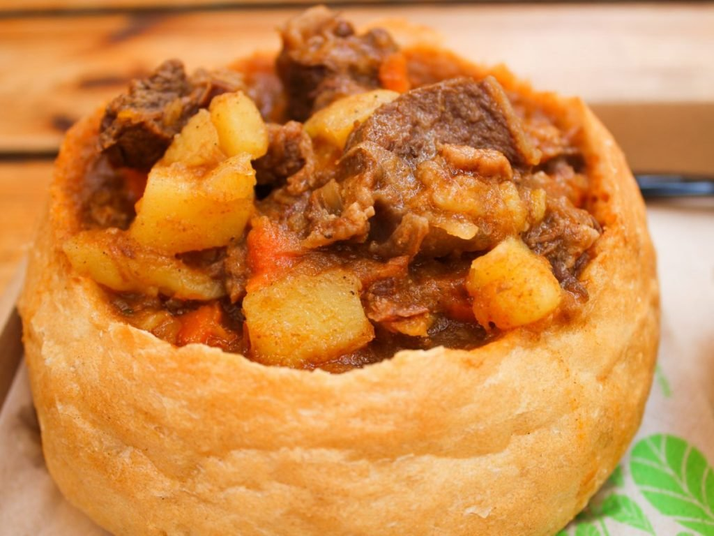 goulash bread bowl serving