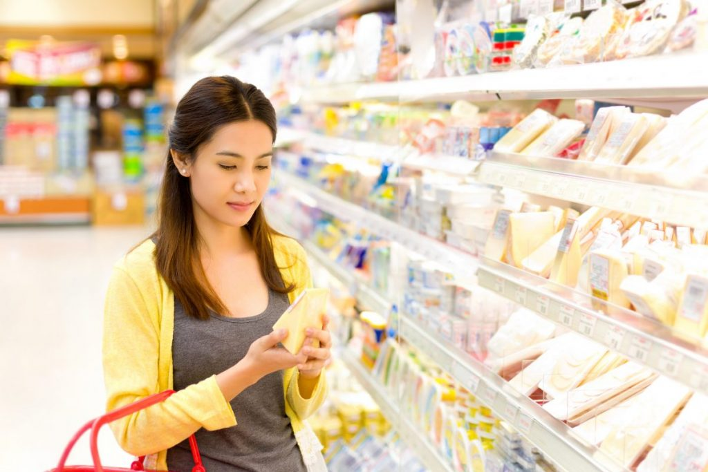 woman shopping dairy products