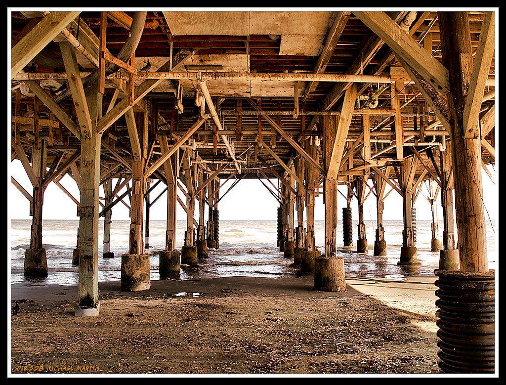Under a pier in Galveston