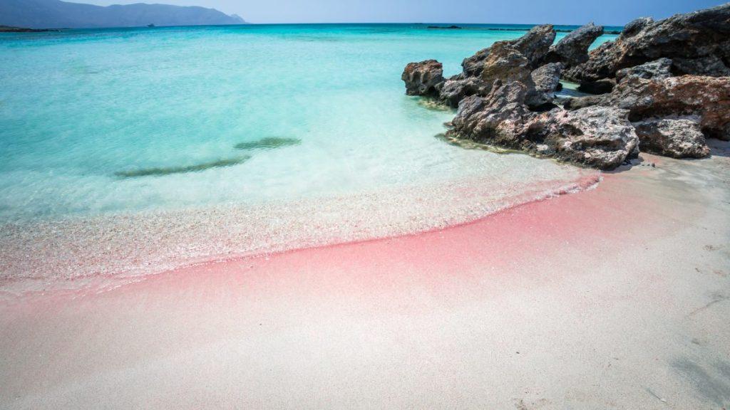 pink beach elafonisi crete