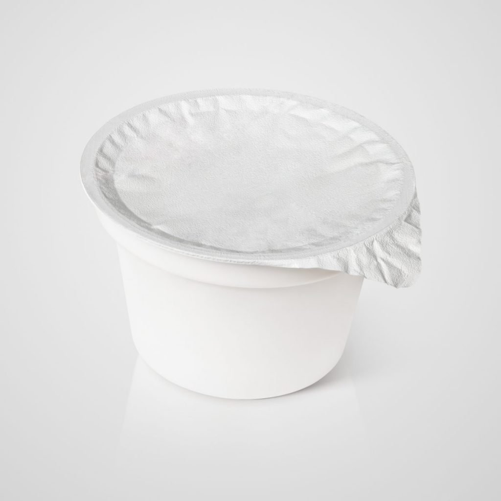 Closed container of sour cream
