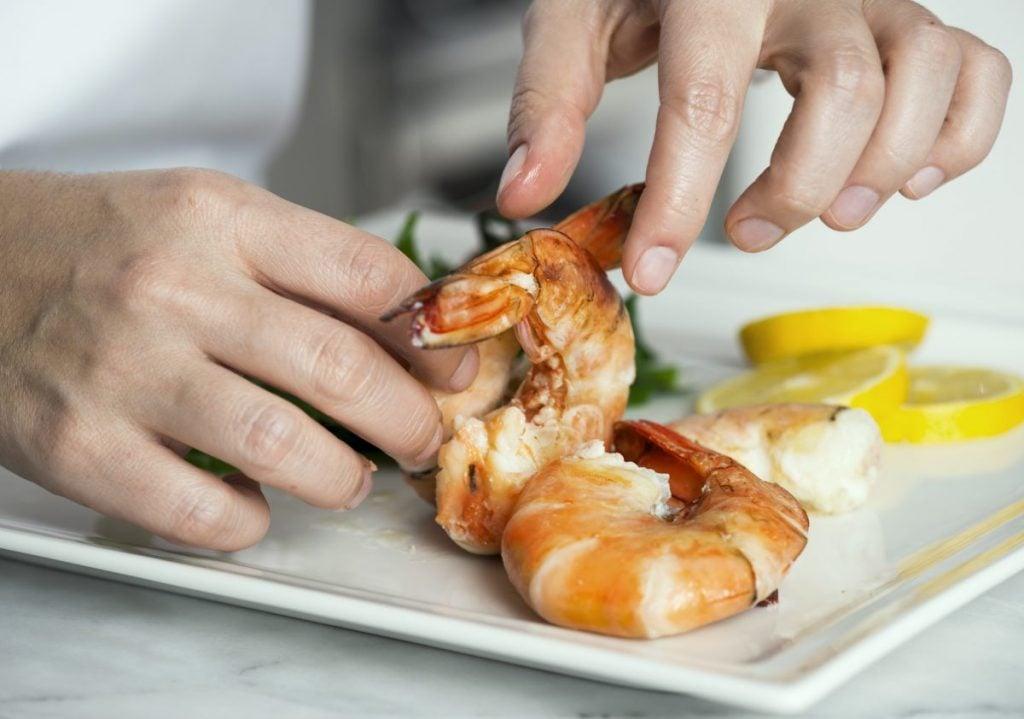 chef plating shrimp