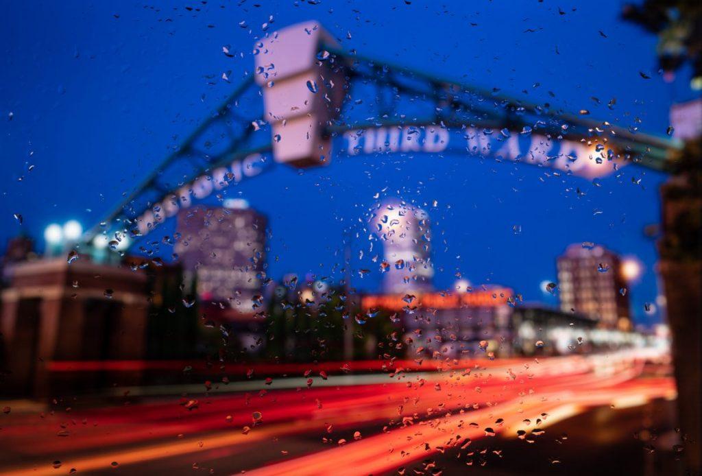 third ward through rainy window