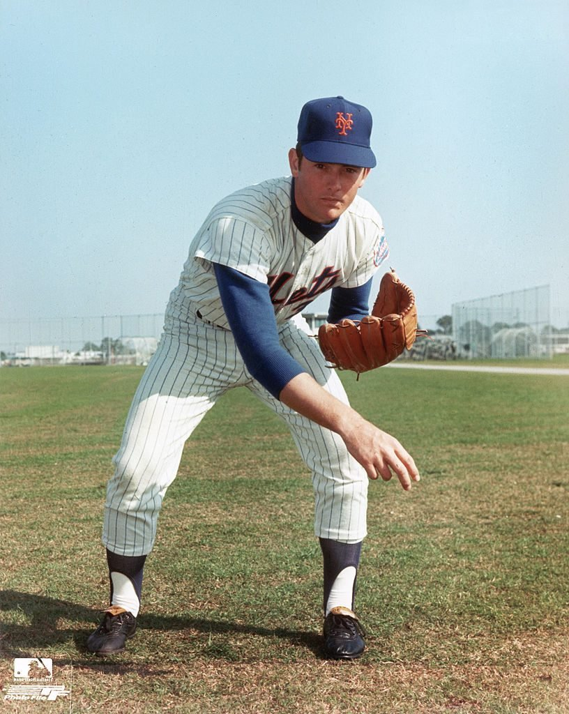 Nolan Ryan of the New York Mets poses for an action portrait before a season game. Nolan Ryan played for the Mets from 1966-1971.