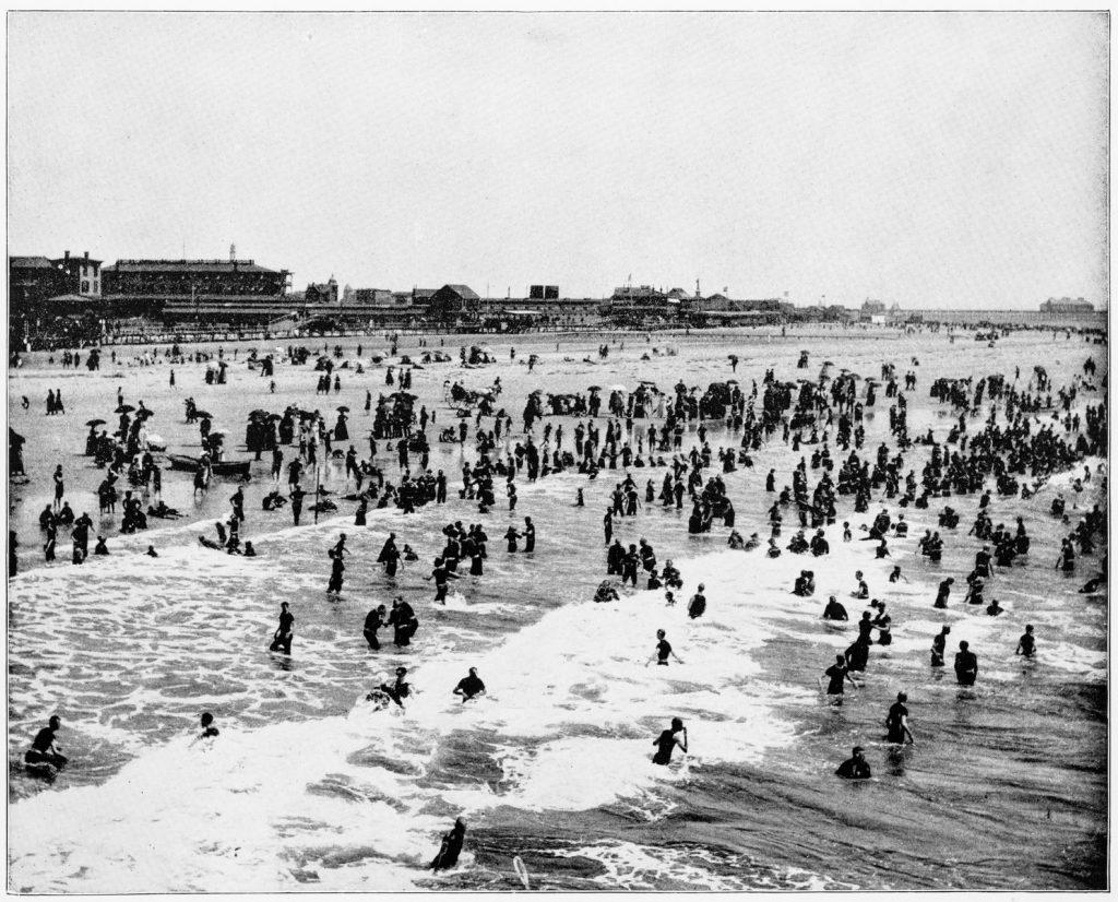 Beach, Atlantic City, New Jersey, USA in 1880s