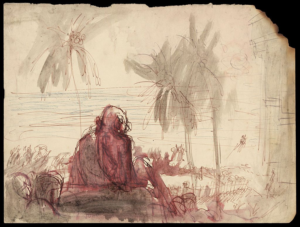 Indian spiritual and political leader Mahatma Gandhi . A sketch by Polish-born British expressionist Feliks Topolski.