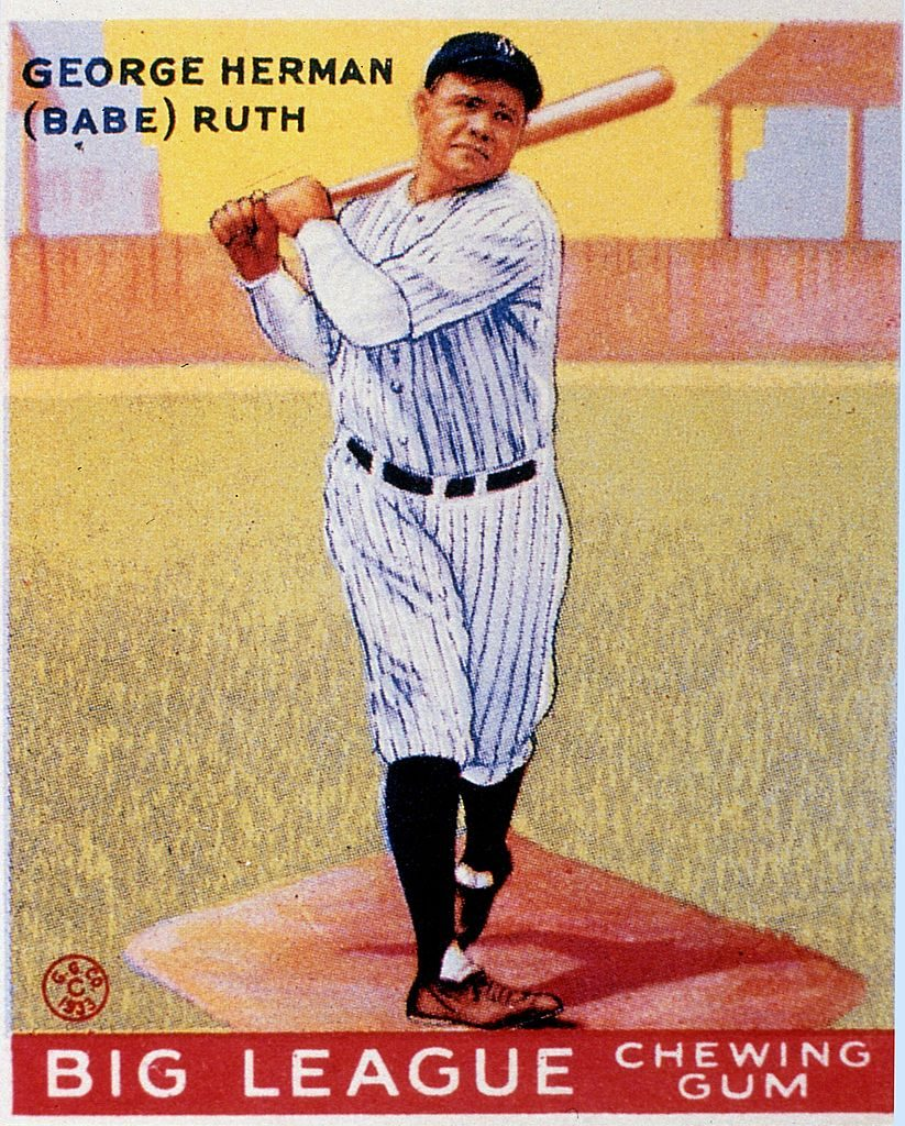 "Full length color lithograph portrait of George Heramn ""Babe"" Ruth swinging a bat, The image is from a trading card published by the Goudey Gum Company to publicize Big League Chewing Gum,"