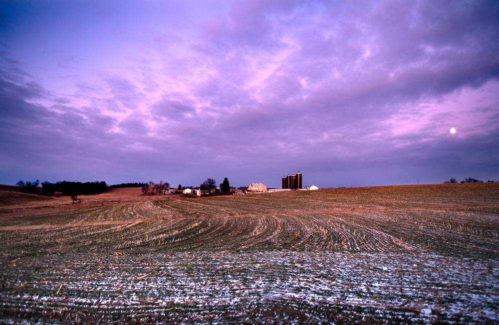 Winter Moonrise over Lancaster County landscape
