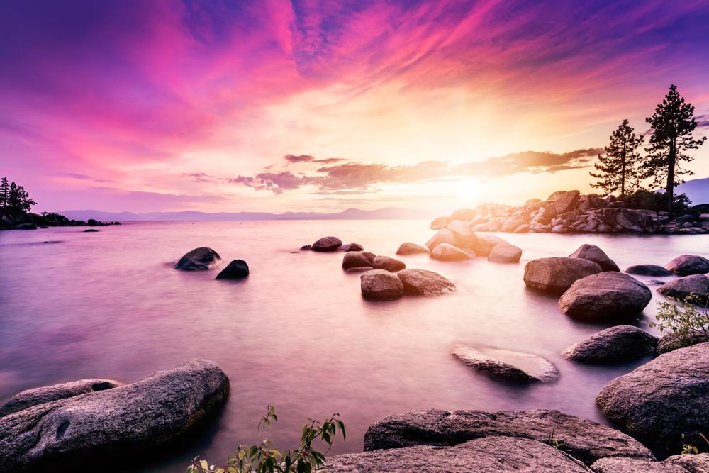 Lake Tahoe sunset from San Harbor beach