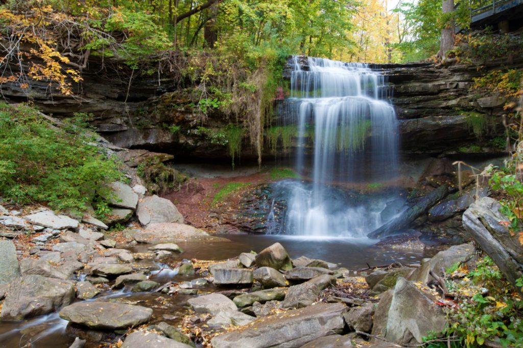 Beautiful waterfall in Hamilton, ON, Canada, in fall colors