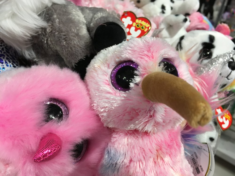 Pink ty beanie animals on display with funky big nose