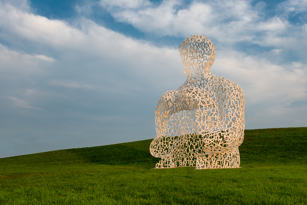 Stainless steel Nomade sculpture by Jaume Plensa in Pappajohn Sculpture Park