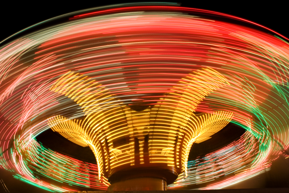 Night image of thrill ride at Knoebel's Grove in Pennsylvania.