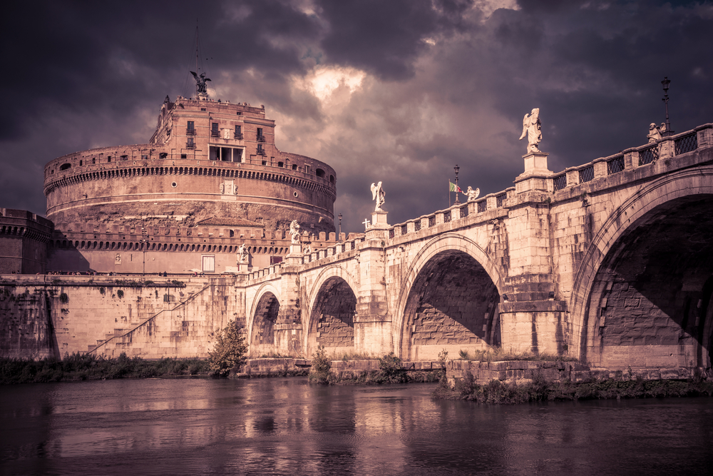 Castel Sant'Angelo (castle of Holy Angel) and Ponte or bridge Sant'Angelo with statues in Rome, Italy