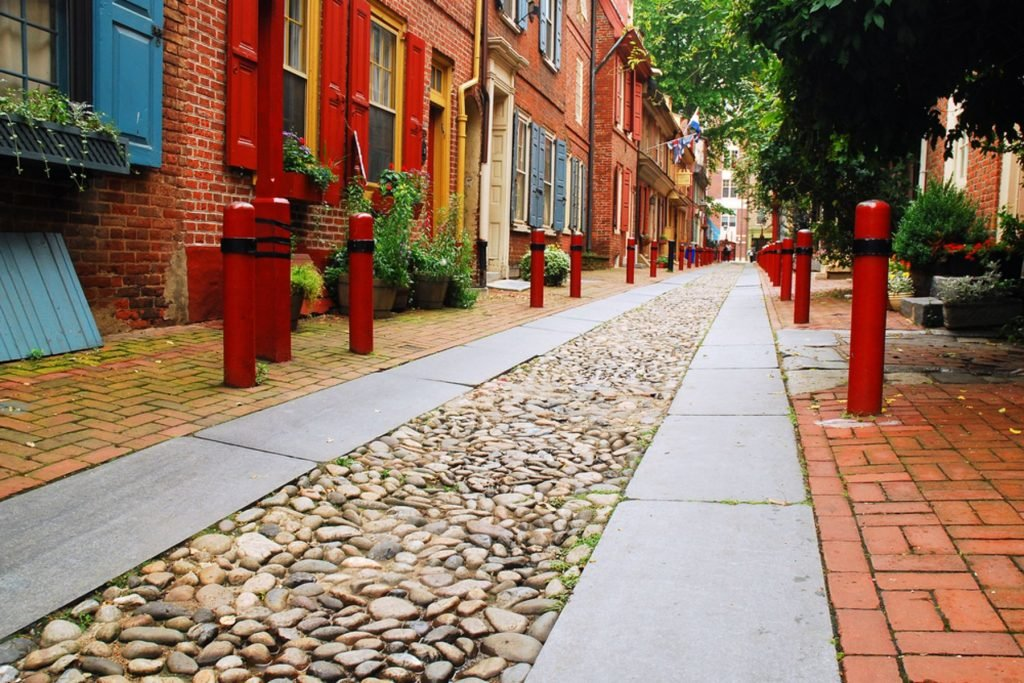 The brick and cobblestone streets of Elfreth Alley, Philadelphia, is said to be the oldest street in continuous use in America