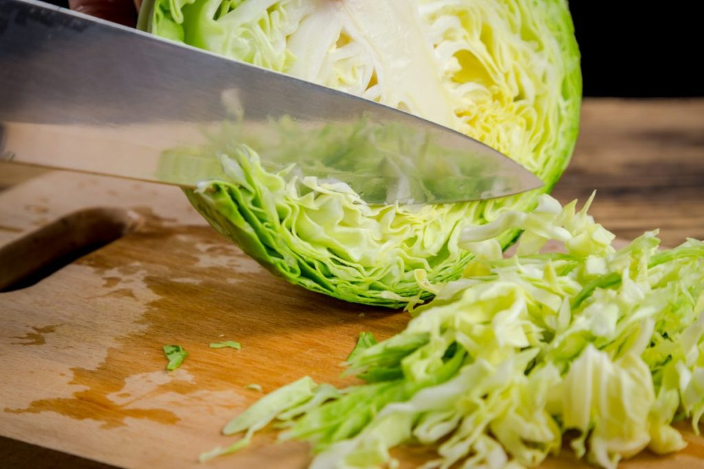 prepare quarter cabbage slice