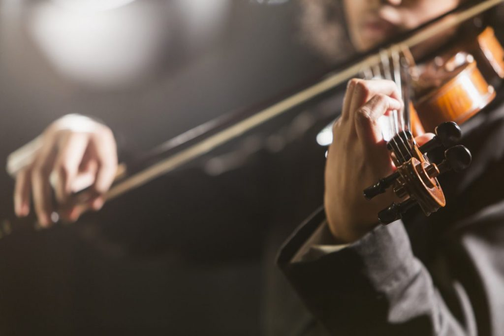 Close-up of violinist