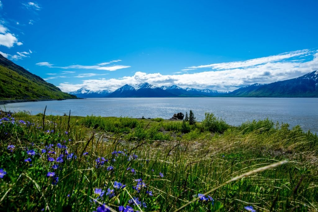Turnagain Arm with mountain range in the Chugach State Park near Anchorage, Alaska.