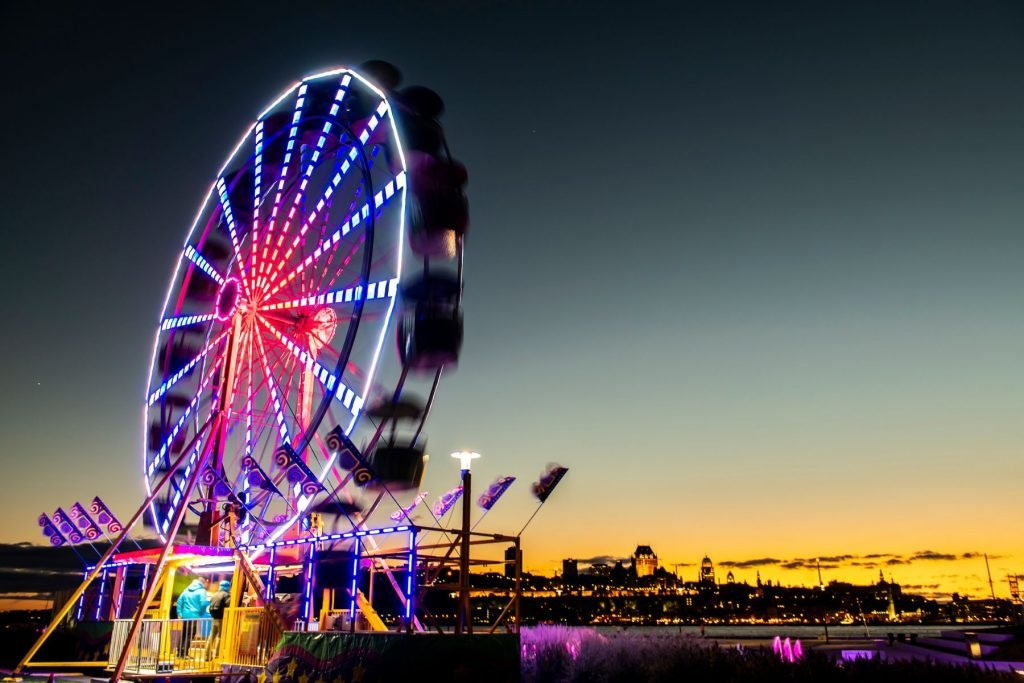 The Ferris wheel at Levis Quebec Canada at sunset