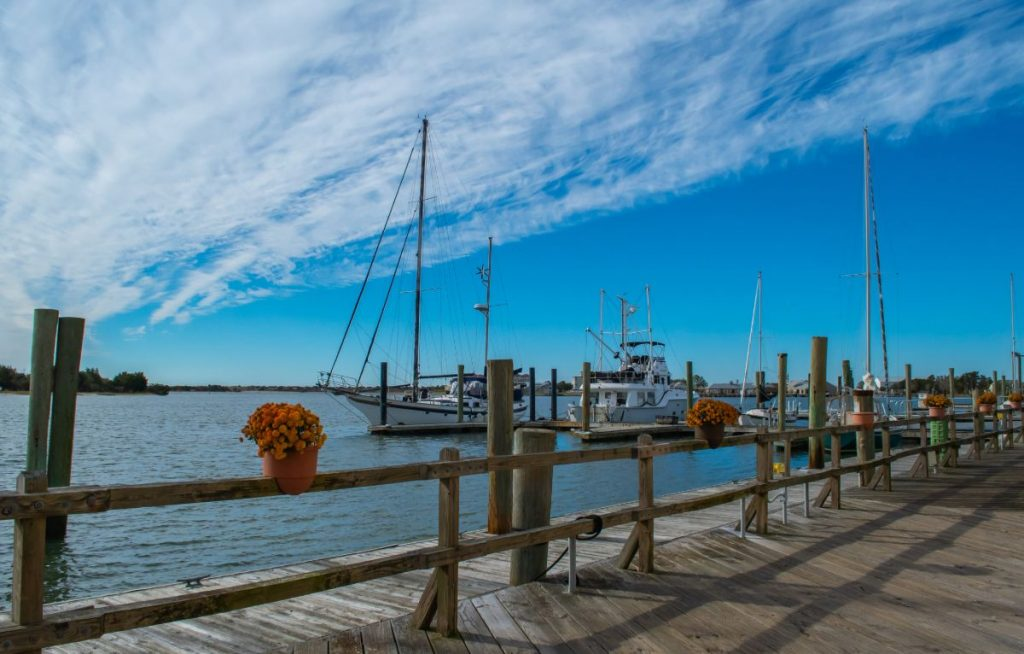 Beaufort North Carolina-Tall ship sailboats in the harbor on a sunny day