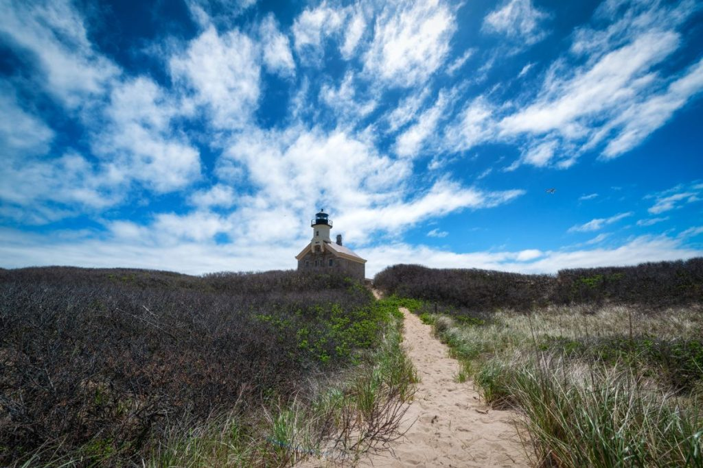 Blue sky and clouds over North Lighthouse on Block Island.