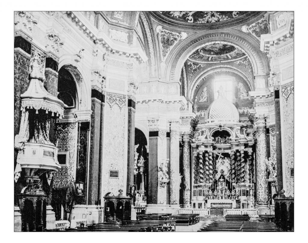 Antique photograph of inside of the church of Santa Maria Assunta, known as I Gesuiti in Venice (Italy) in a picture taken during the 19th century.