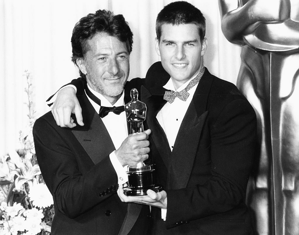 Actor Dustin Hoffman (left) holding his Oscar, with his 'Rain Man' co-star Tom Cruise, at the 61st Annual Academy Awards at the Shrine Auditorium in Los Angeles, March 29th 1989.