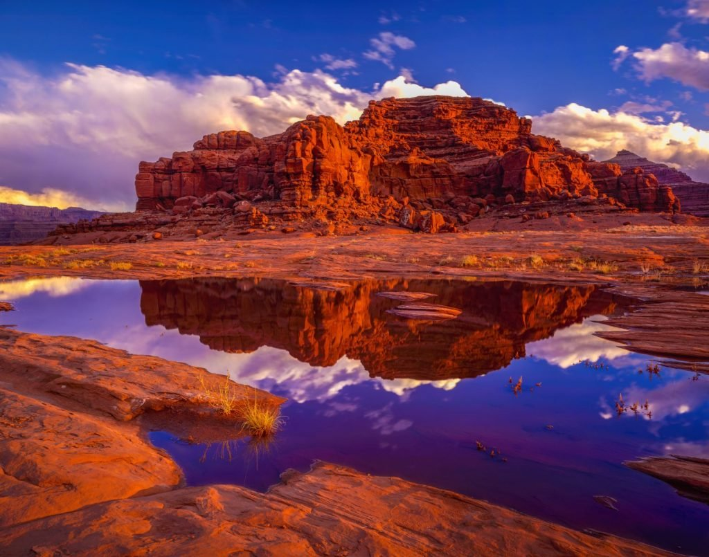 Looking at Deadhorse Point State Park near Canyonlands National Park from BLM land right after a big storm, Utah